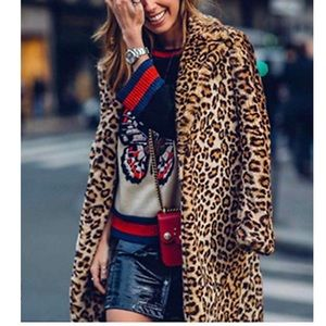 Jackets & Blazers - Furry Leopard Overcoat
